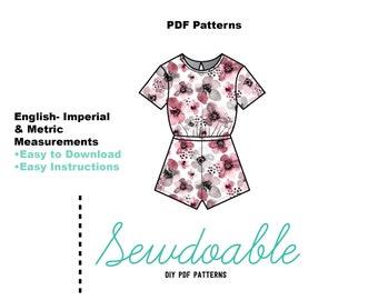 Tee Shirt Romper PDF Pattern 3/6M- 2Y