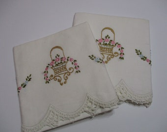 Vintage Embroidered Pillowcase Set-Floral-Cottage Chic-UNUSED-Pillowcases