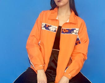 Vintage 90s Y2k 2000s Orange and Hawaiian Print Collared Zipper Jacket