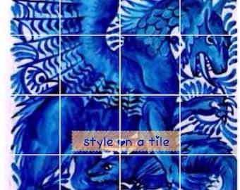 "Arts and Crafts William De Morgan Blue Saphire Dragon & Beast 608mm x 608mm 24"" x 24"" square ceramic tile mural mosaic wall art splash back"