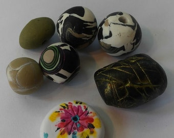 Polymer clay beads for jewelry making, round beads,  irregular beads, colorful beads, tube beads, handmade gypsy beads, 15mm