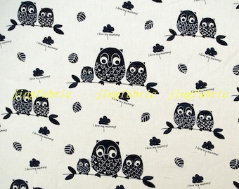 L399 - 140cmx100cm  Cotton Linen Fabric - Curtain Bag Home Decor Fabric -  Owl Family on Tree