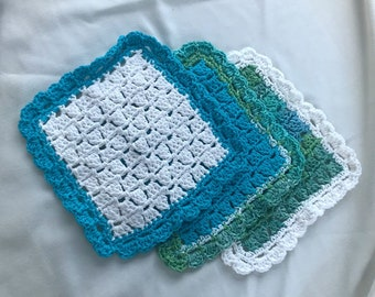 Set of 3 crochet dishcloths in mixed hues of turquoise and white