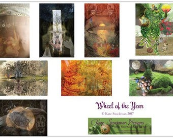 Wheel of the Year - set of 8 greeting cards honoring seasons, holydays, Nature, sabbats, holidays, seeds, roots, passage, time, growth