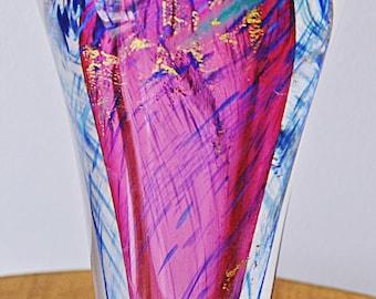 Heavy Art Glass Vase, Multi-Coloured Vase