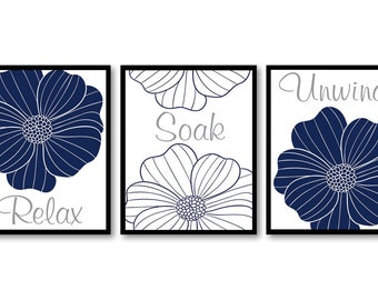 Bathroom Wall Decor Relax Soak Unwind Grey Blue Navy Bathroom Wall Art Modern Bathroom Art Set of 3 Flower Bath Art Prints