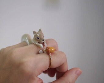 Squirrel Ring Set -Animal Jewelry  -Three pieces Ring Collection- Handcraft Jewelry-Birthday Gift