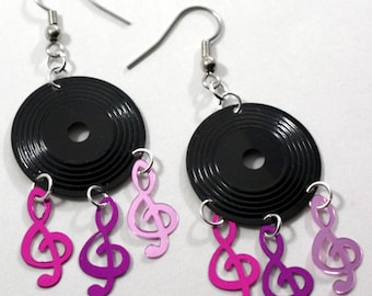 Musical Earrings Music Record Earrings Clef Notes Dangling Plastic Sequin Jewelry
