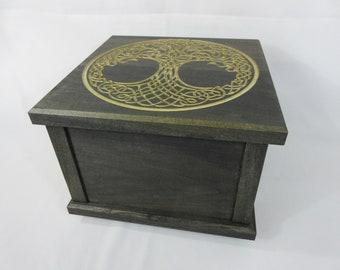 100% Hardwood Handmade Solid Poplar Celtic Tree of Life Design Stash Box Chest