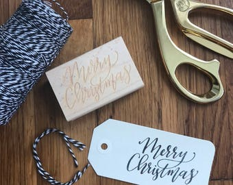 Merry Christmas Rubber Stamp | Calligraphy Stamp | Gift Tag Stamp | Christmas Gift