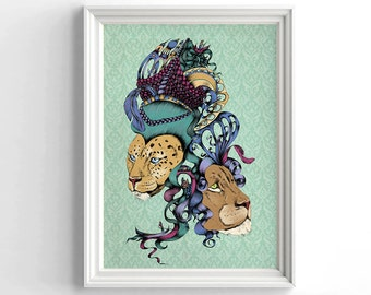 Surrealism poster, Wall Hanging, Animal art, Fantasy art, Lion print, Leopard print, Wild cats poster, Vintage art, Vintage decor, Fantasy