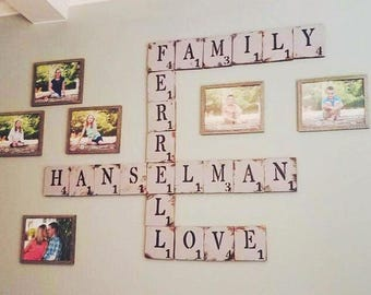 Scrabble Letters // Custom Words // Family // Children's names // Wedding Gift