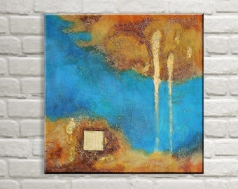 Original Abstract Painting Ocher Blue Bronze, Structure Picture Elegant, Modern, Acrylic on Canvas, Abstract Art, Acrylic Painting abstract