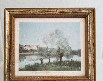 Vintage Miniature Lithograph | Jean-Baptiste Camille Corot | Ville D'Avray