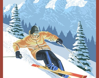 Whitefish, Montana - Downhill Skier (Art Prints available in multiple sizes)
