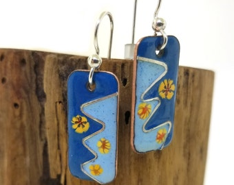 Glass Enamel Fused to Copper Vintage Style Flower Earrings with Embedded Sterling Silver