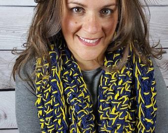 Michigan Infinity Scarf, Crochet Cowl Scarf, Circle Scarf, Loop Scarf, U of M Infinity Scarf - Can be worn 2 different ways!