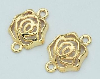 Gold Rose Flower Connector - Set of 6 - 20mm x 15mm - Jewelry Supply