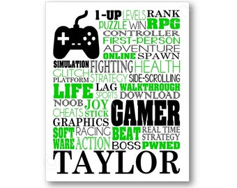 Gamer Typography Poster, Gamer Wall Art, Gaming Canvas, Gamer Gift, Video Game Gift, Gaming Wall Art, Gamer Art Print, Video Game Lover Gift
