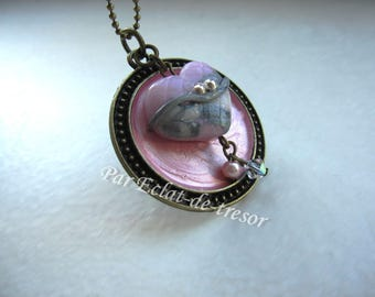 "Collection ""Les delicacies"", pink and grey Heart Necklace"