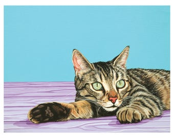 Reclining Tabby Cat Archival Art Print, Colorful Modern Cat Print, Gift for Cat Lover, Affordable Cat Art, Contemporary Cat Art Print