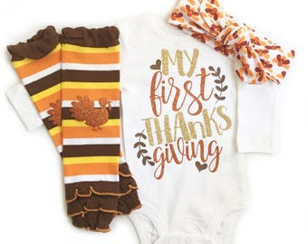 My First Thanksgiving, Baby Girl Thanksgiving Shirt, Thanksgiving Outfit, Girl Thanksgiving Outfit, 1st Thanksgiving, Thanksgiving Headband