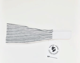 The Fit Band - Women's Fitness Workout Headband Light Grey Striped Yoga Band Fitness
