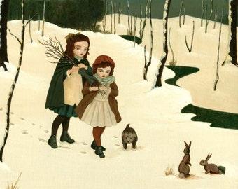Into The White Forest Print 10x8 - Children's Art, Girls Room Art, Nursery Art, Girl Art Print, Poster, Girls Room Decor, Art for Kids