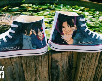 naruto manga hand painted shoes converse Custom one of a kind canvas