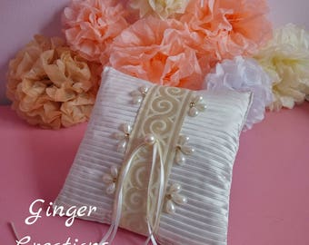 Wedding Ring Pillow/Satin Ring Pillow/Ivory, Pearls Ring Pillow/Wedding Cushion/Ringbearer Pillow