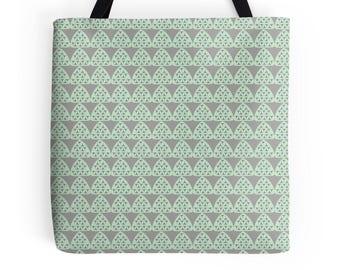 Geometric tote bag, Geometric shopper, Mint tote shopper, Work bag, Lunch bag, Tote bag, Grey tote bag, Shopping bag, Market bag, Mint bag