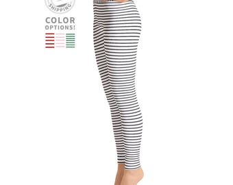 White & Black Striped Leggings | Yoga Leggings | Yoga Pants | Workout Leggings | Women's Leggings | Yogawear | Yogagear | Loopy Jayne