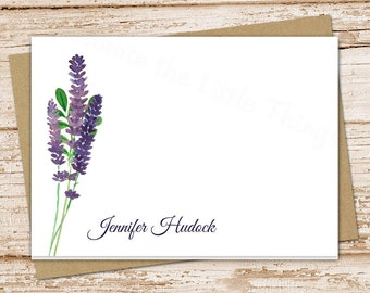personalized stationery . lavender note cards . lavender stationery . floral, botanical notecards . folded stationary . set of 8