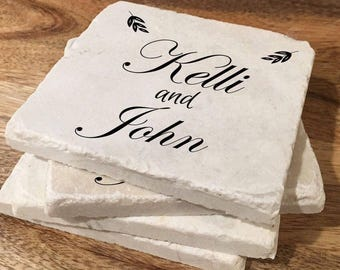 Personalized coasters for couple / Custom wedding marble coasters / Wedding gift for couple