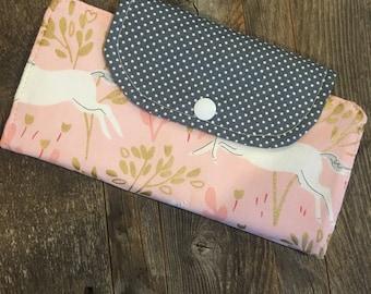 Unicorn  slim line wallet, women's wallet, vegan, bifold wallet, cotton wallet, handmade wallet