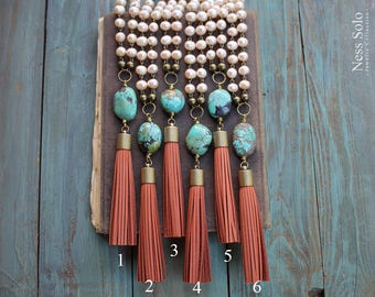 Pearl and turquoise necklace Genuine turquoise necklace Leather tassel necklace Long pearl necklace Beaded boho necklace Bohemian jewelry