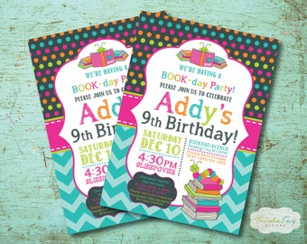 Bookworm Birthday Party Invitation, Book Birthday Party, Reading Party, Bookworm Themed Party, Book Theme Birthday, Girl Birthday Party