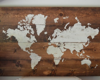 Wood wall art stained and painted World Map