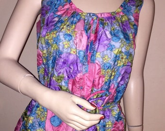 Vintage Floral Textured Nightgown & Robe Set Sz M