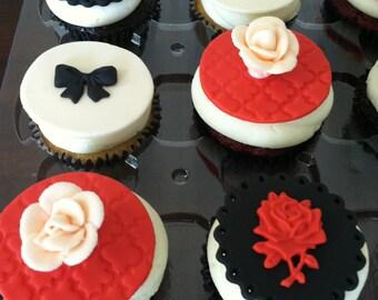 Romantic Rose Cupcake Toppers