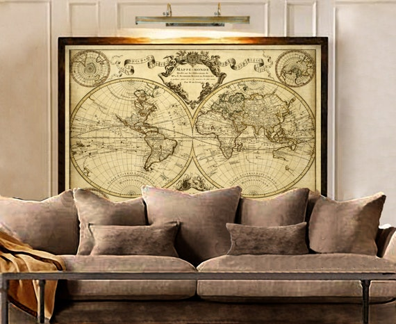 1720 Old World Map map art Historic Map Antique Style World Map wall art Guillaume de L'Isle mappe monde Wall Map Vintage Map Home Decor