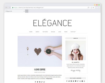 "Responsive WordPress Theme Blog ""Elégance"" - Minimalist eCommerce WordPress Template - Clean & Simple  WordPress Website Design"