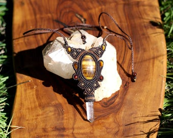 macrame-Tiger Eye necklace from India-alpes-micro macrame beads gold plated quartz