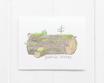 Yule Log Christmas Card / Christmas Card / Holiday Card / Forest Card / Nurse Log Card / Watercolor Christmas Card / Forest Watercolor Card