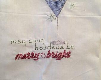 Snowman Martini Embroidered Flour Sack Towel