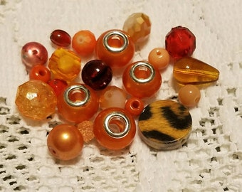 Euro Bead Mix Set of Four Plus Assortment  of Orange Beads
