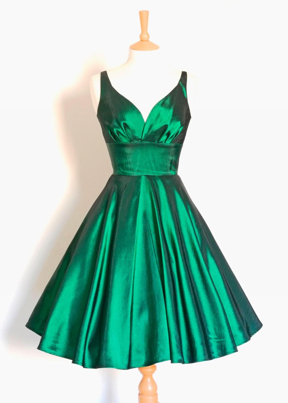Emerald Green Taffeta 50s Sweetheart Tea Dress Made by Dig