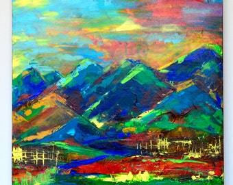 Mountains in Georgia.Acrylic modern painting by Lana Mindeli.Stretched canvas.size 50-60cm.medium size artwork.Walldecor.Homedecor.2017.