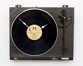 music lover clock, record album clock, Record player LP clock, upcycled large wall clock, Recycled Turntable Clock, Analog music gift