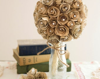 "Vintage Music Paper ""Globe"" Bridal Bouquet"